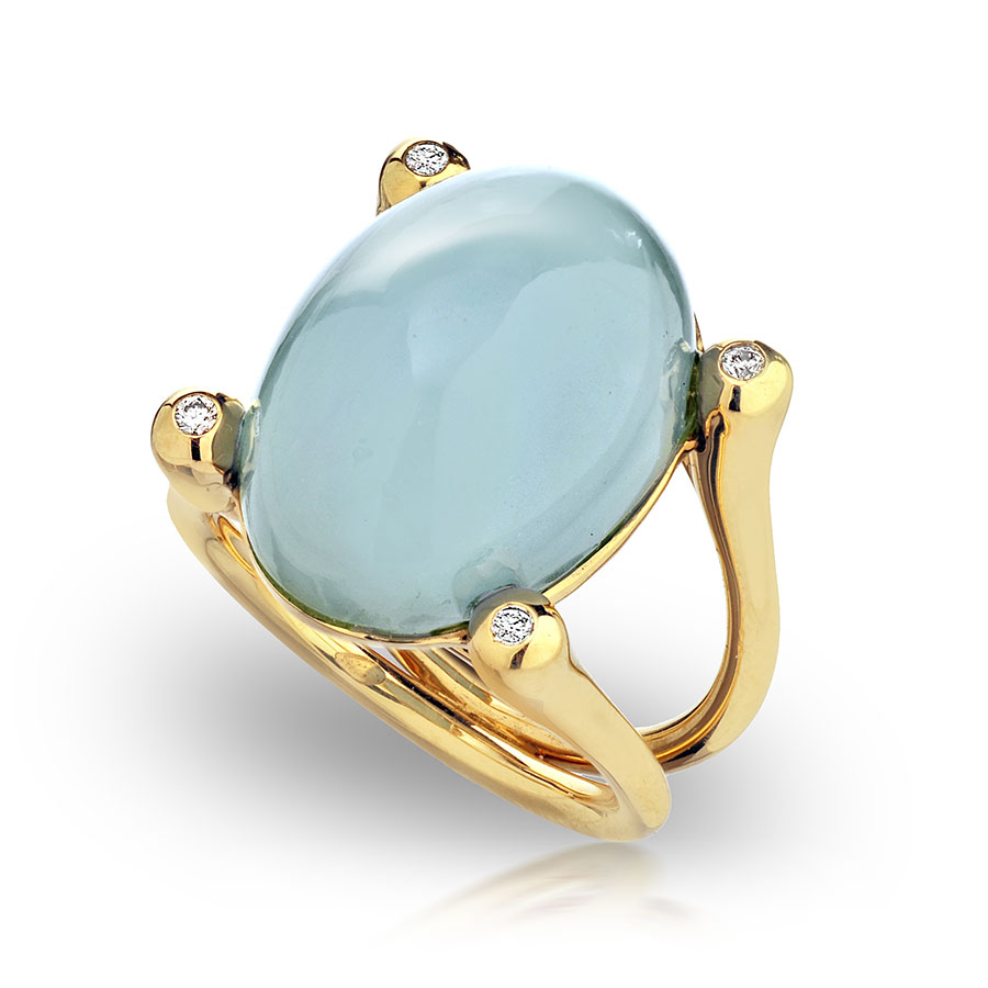 CABOCHON AQUAMARINE WITH NEAR COLORLESS DIAMONDS CRAFTED IN 18K YELLOW GOLD, 18.40 CTW