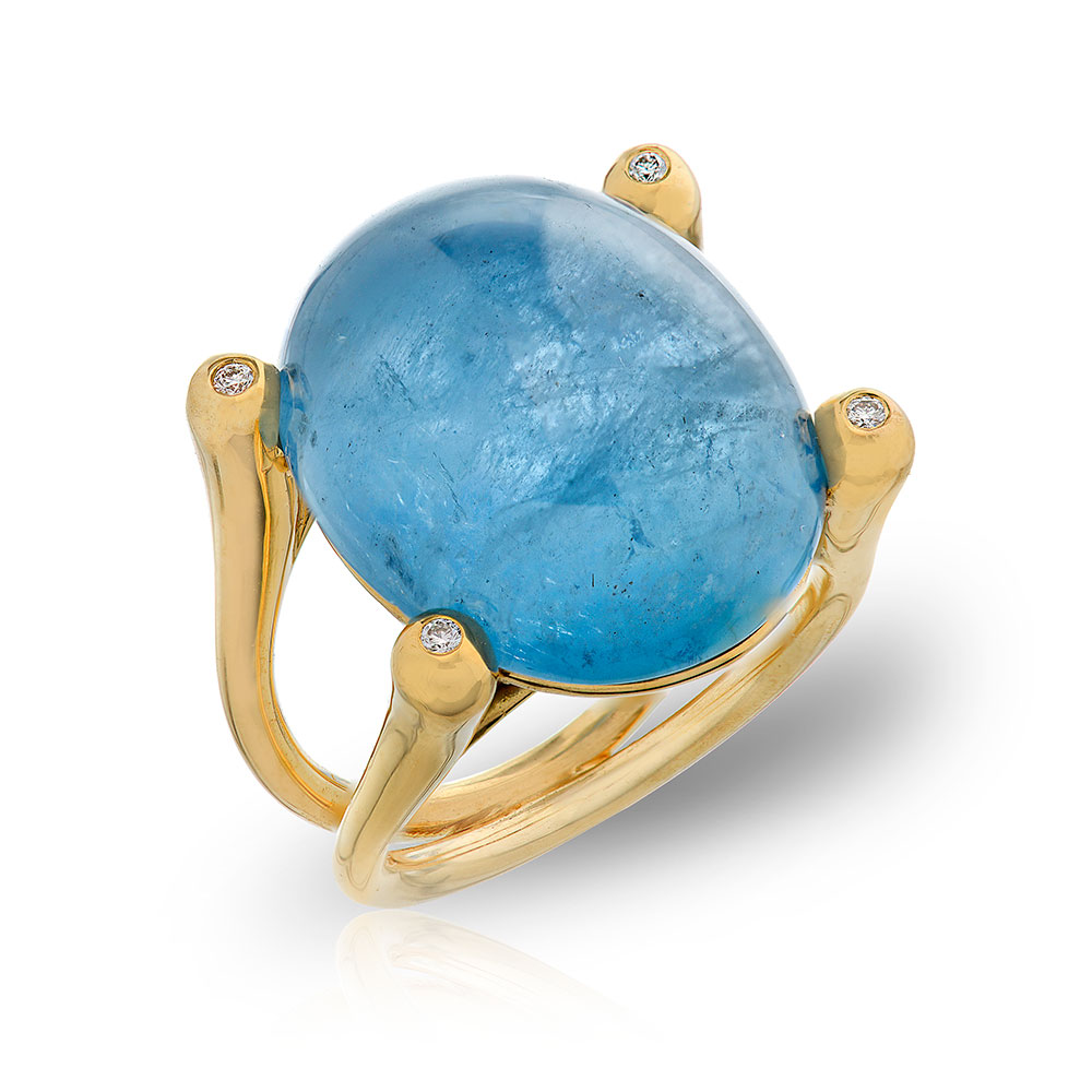 CABOCHON AQUAMARINE (SANTA MARIA MINE) WITH NEAR COLORLESS DIAMONDS CRAFTED IN 18K YELLOW GOLD, 21.79 CTW