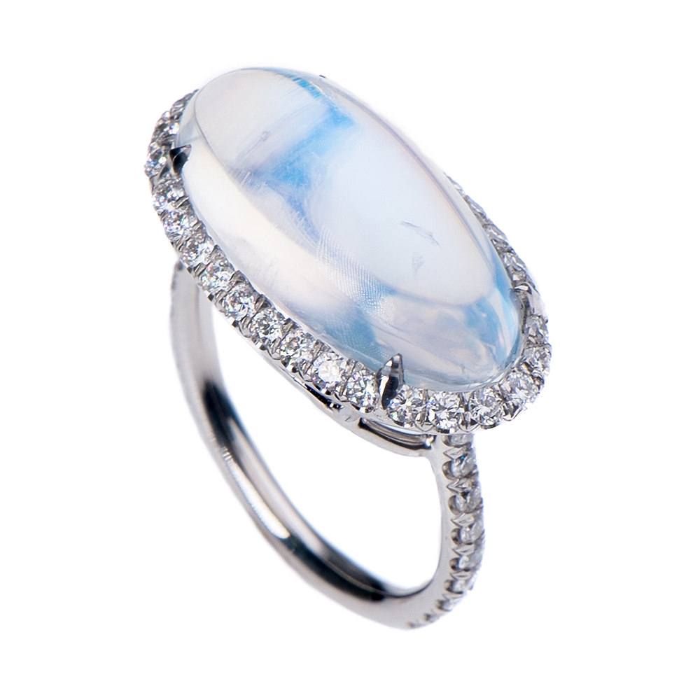 CABOCHON TRANSPARENT BLUE GEM MOONSTONE RING WITH ANTIQUE CUT DOWN DIAMOND PAVE, CRAFTED IN PLATINUM, 10.79 CTW, SIDE ANGLE VIEW