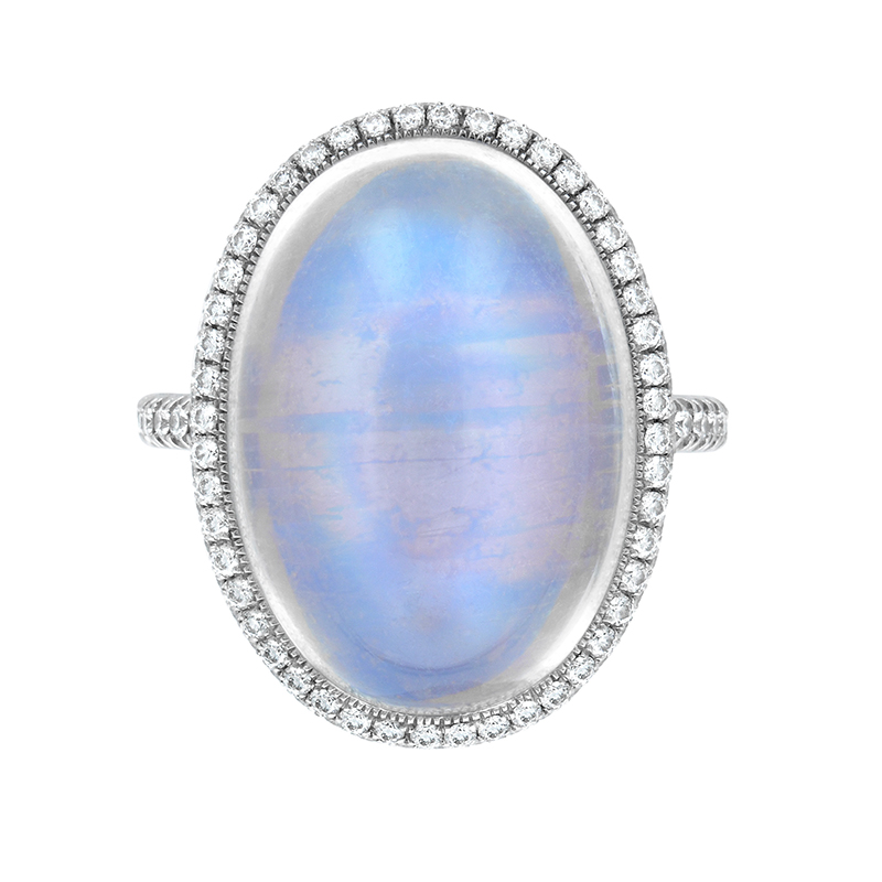 CABACHON TRANSPARENT BLUE GEM MOONSTONE WITH ANTIQUE CUT DOWN DIAMOND PAVE AND MILGRAIN DETAIL, CRAFTED IN PLATINUM. 12.85 CTW, TOP VIEW