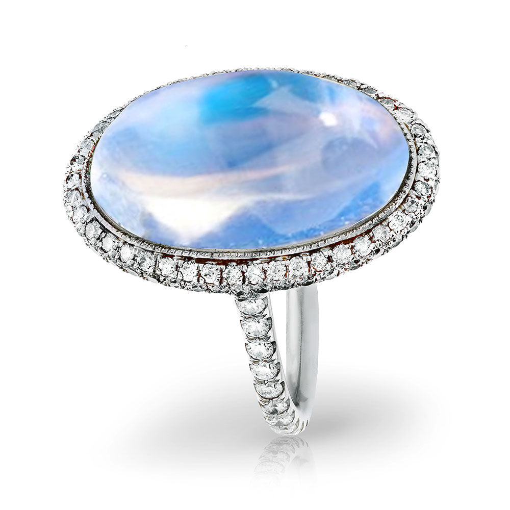 CABOCHON TRANSPARENT BLUE GEM MOONSTONE WITH ANTIQUE CUT DOWN DIAMOND PAVE AND MILGRAIN DETAIL CRAFTED IN PLATINUM, 11.30 CTW