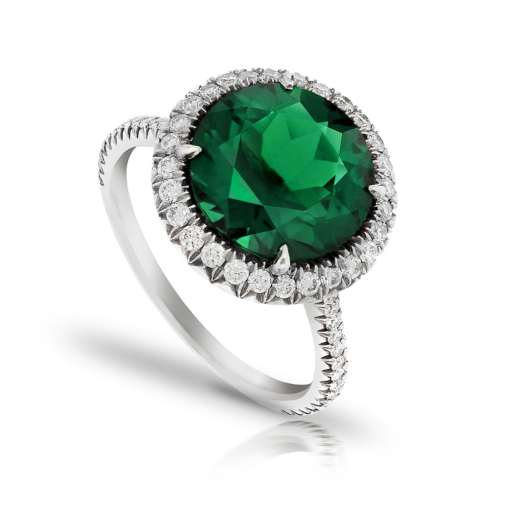 CHROME TOURMALINE ROUND CUT RING WITH ANTIQUE CUT DOWN COLORLESS DIAMOND PAVE CRAFTED IN PLATINUM, 4.50 CTW