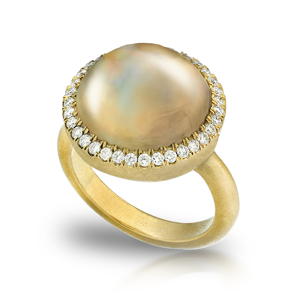 PEACOCK 12mm MABE PEARL STAR RING WITH NEAR COLORLESS DIAMONDS CRAFTED IN 18K YELLOW GOLD BRUSHED FINISH, .35 CTW