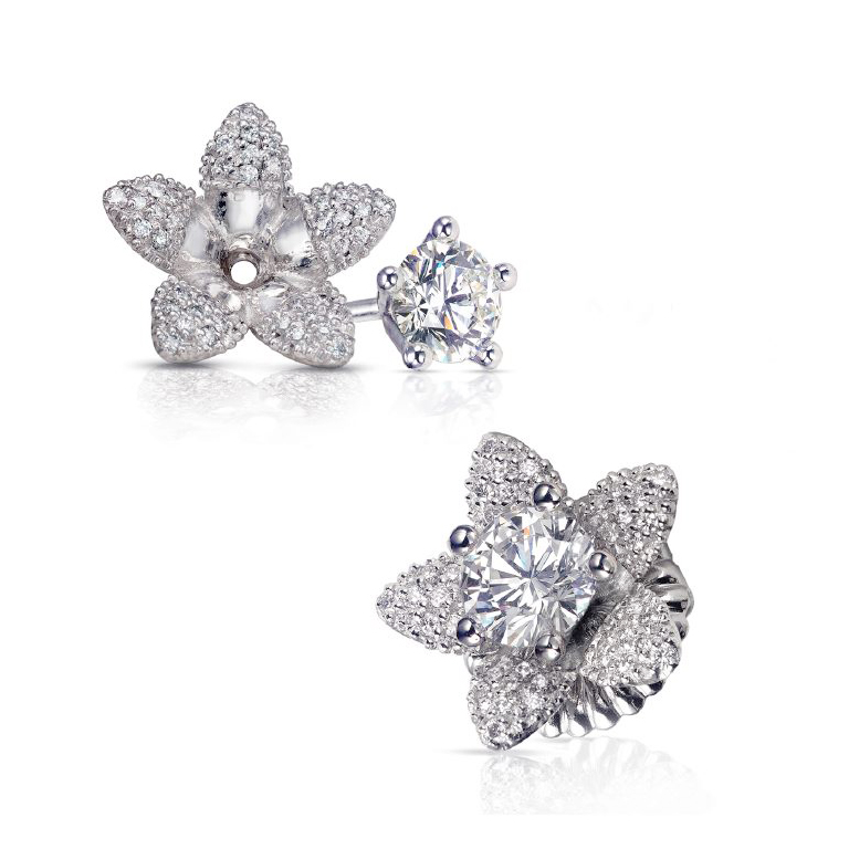 DIAMOND STUDS WITH FLOWER JACKETS