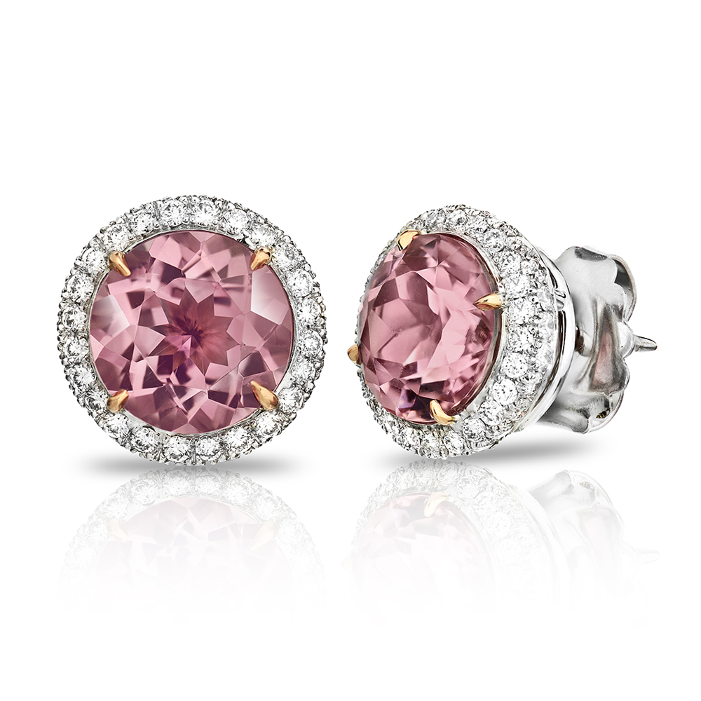 PINK TOURMALINE ROUND CUTS SURROUNDED BY TWO ROWS OF NEAR COLORLESS DIAMONDS CRAFTED IN 18K WHITE AND ROSE GOLD, 6.14 CTW