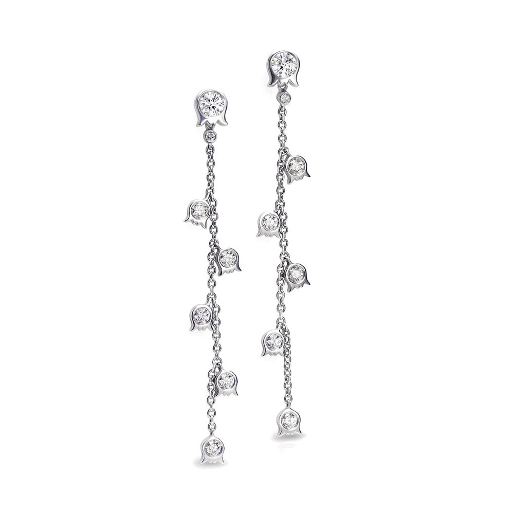LILY OF THE VALLEY VINE EARRINGS WITH COLORLESS ROUND DIAMONDS IN 18K WHITE GOLD, 1.12 CTW
