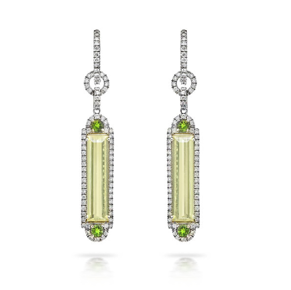 GREEN AMETHYST BAGUETTES AND GARNETS WITH MICRO-SET COLORLESS DIAMONDS CRAFTED IN PLATINUM, 6.85 CTW