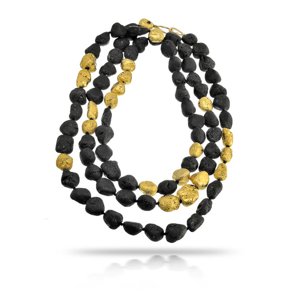 NATURAL BLACK AND GILDED TOURMALINE NECKLACE