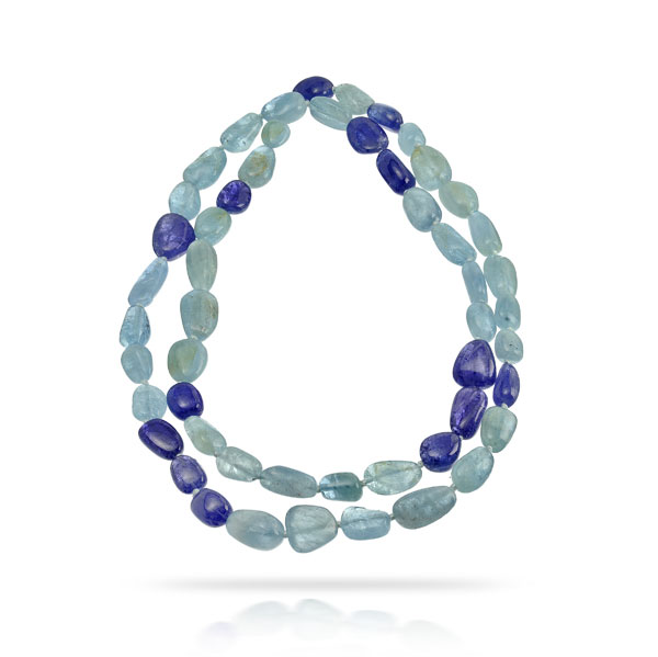 TANZANITE AND AQUAMARINE NECKLACE JUST UNDER 500 CTW