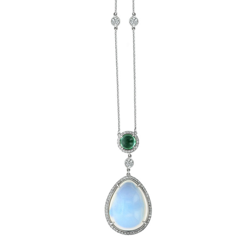 CABOCHON TRANSPARENT BLUE GEM MOONSTONE, CABACHON TSAVORITE ANTIQUE CUT DOWN DIAMOND PAVE AND DIAMOND BY THE YARD CHAIN CRAFTED IN PLATINUM, 25.66 CTW