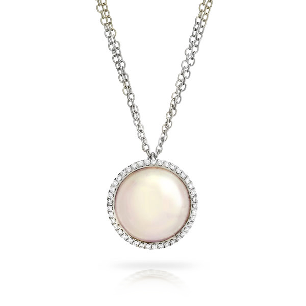 WHITE 12mm MABE PEARL PENDANT WITH DOUBLE CHAIN AND MICRO-SET COLORLESS DIAMOND CRAFTED IN 18K WHITE GOLD, .24 CTW