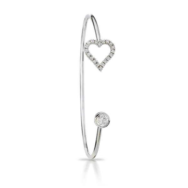 DIAMOND HEART AND ROUND OPEN BANGLE CRAFTED IN 18K WHITE GOLD, .73 CTW
