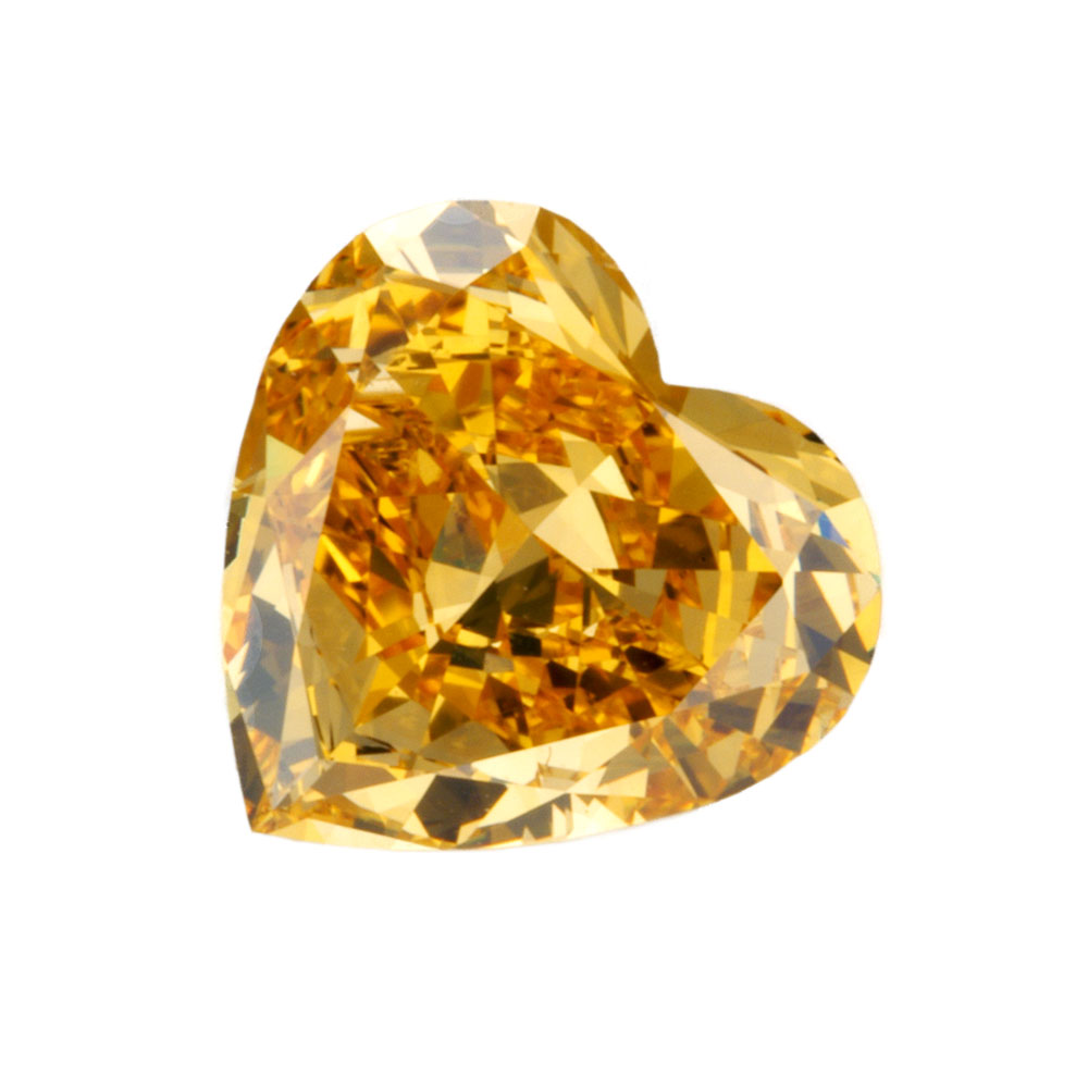 FANCY YELLOWISH ORANGE - HEART CUT  LOOSE  DIAMOND