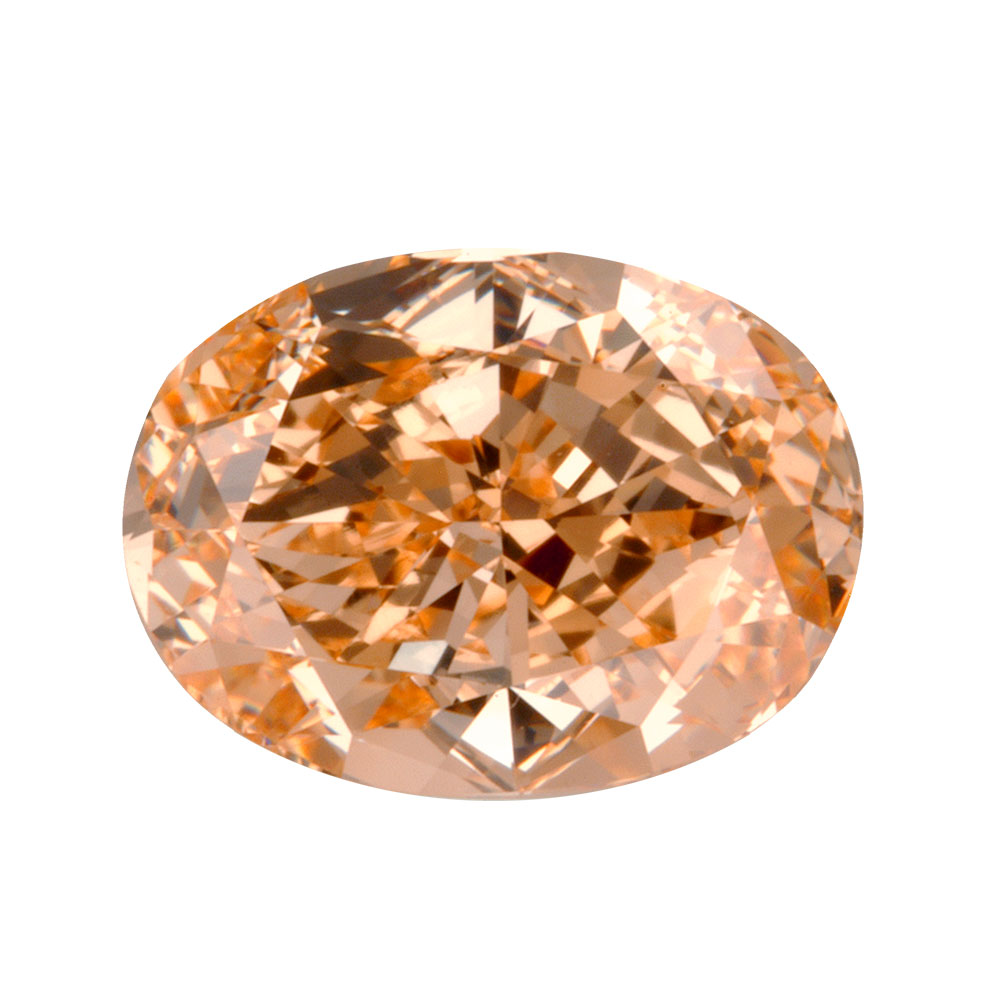 FANCY PINKISH ORANGE - OVAL CUT  LOOSE  DIAMOND