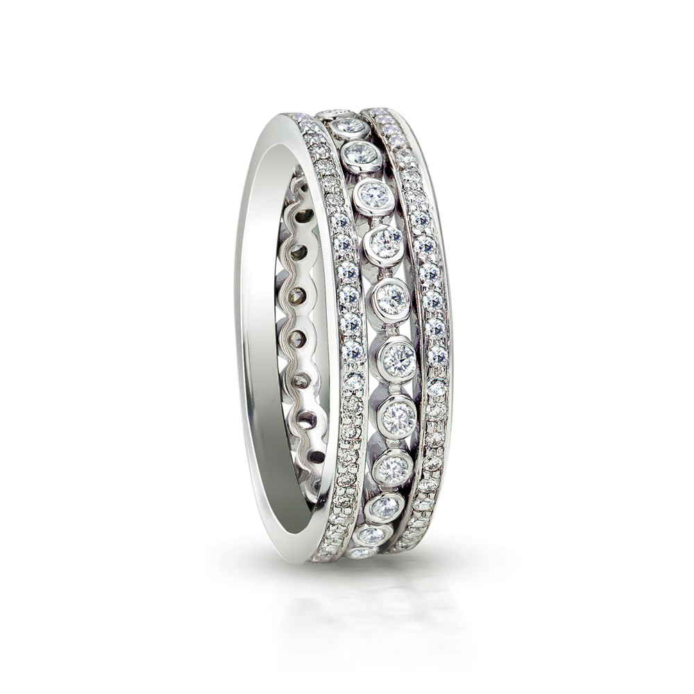 TIARA STACKABLE BANDS WITH COLORLESS DIAMONDS, CRAFTED IN 18K WHITE GOLD, 0.65 CTW
