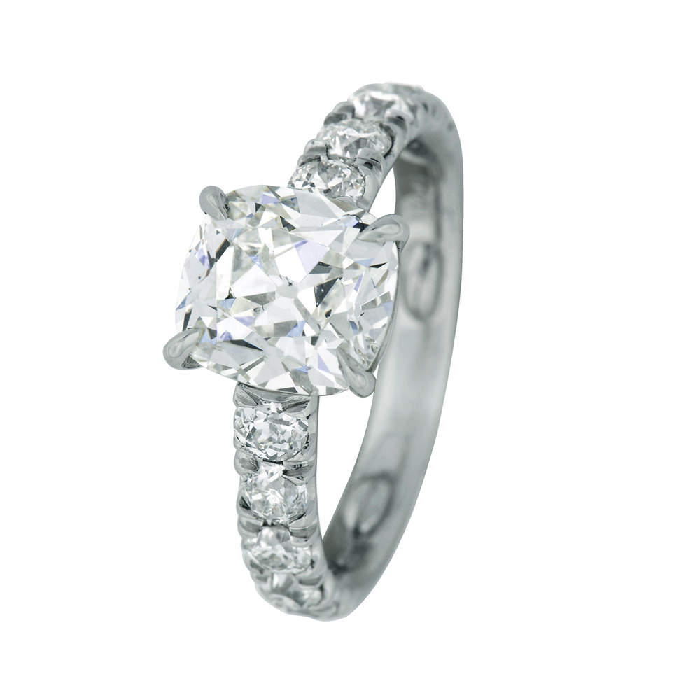 ANTIQUE CUSHION-CUT CENTER DIAMOND WITH ANTIQUE EUROPEAN CUT DIAMOND ACCENT, CRAFTED IN PLATINUM, 3.29 CTW, TOP ANGLE VIEW