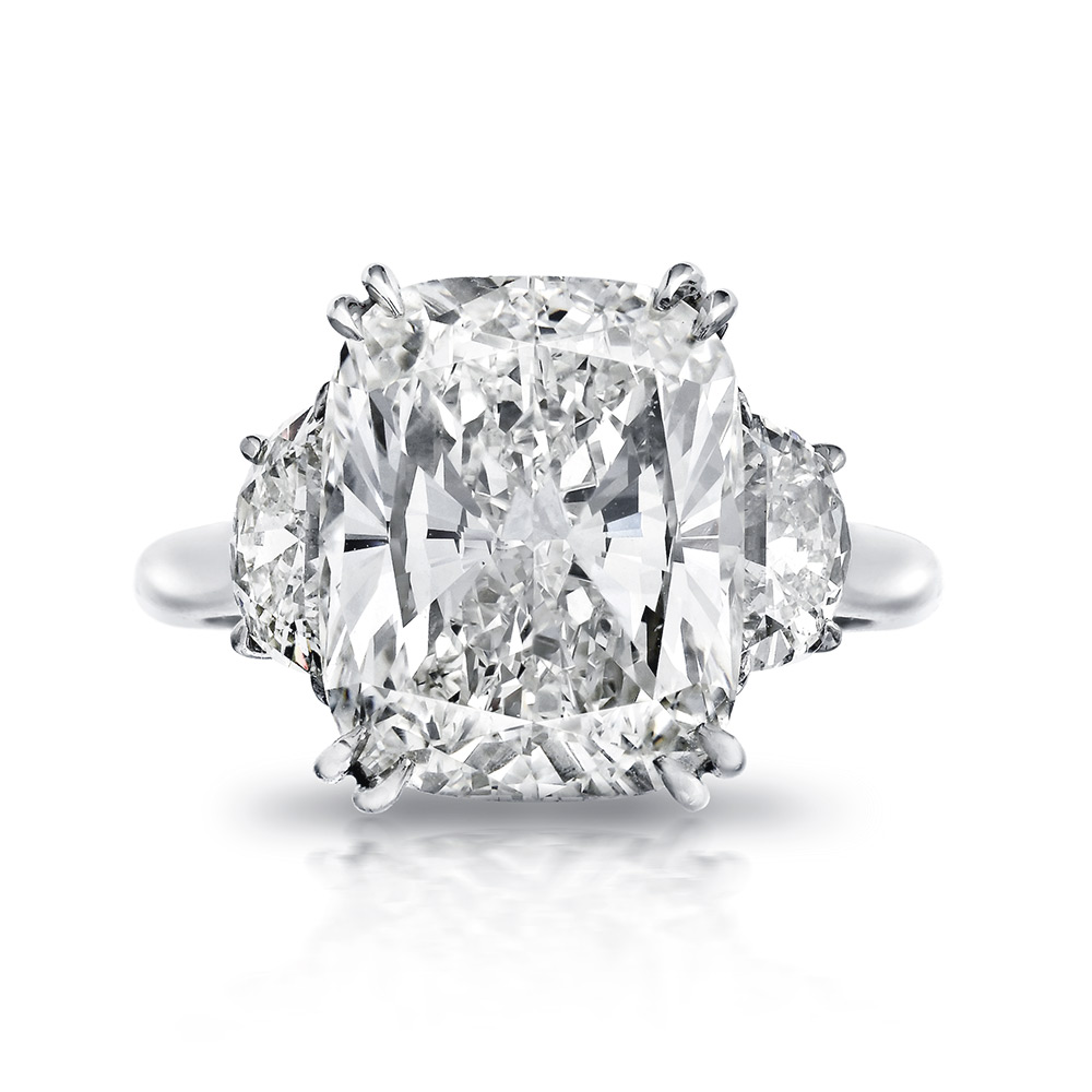 CUSHION-CUT CENTER DIAMOND SET WITH SPLIT EAGLE CLAW PRONGS AND HALF MOON CUT DIAMONDS, CRAFTED IN PLATINUM, 8.22 CTW, TOP VIEW