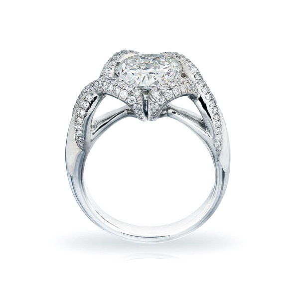 BARONESS RING WITH CUSHION-CUT CENTER DIAMOND AND CUT DOWN DIAMOND PAVE, CRAFTED IN PLATINUM, 2.67CTW, PROFILE VIEW