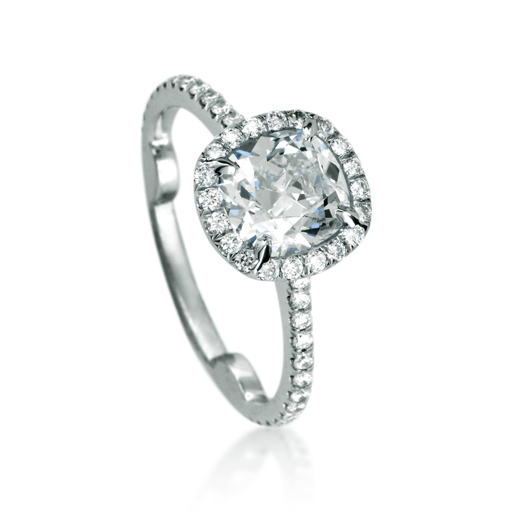 ANTIQUE CUSHION CUT CENTER DIAMOND WITH MODERN CUT DOWN DIAMOND PAVE HALO, CRAFTED IN PLATINUM, 2.89 CTW