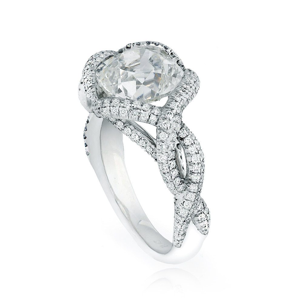 CONTESSA RING WITH ANTIQUE CUSHION-CUT CENTER DIAMOND AND CUT DOWN DIAMOND PAVE, CRAFTED IN PLATINUM, 3.60 CTW, SIDE ANGLE VIEW