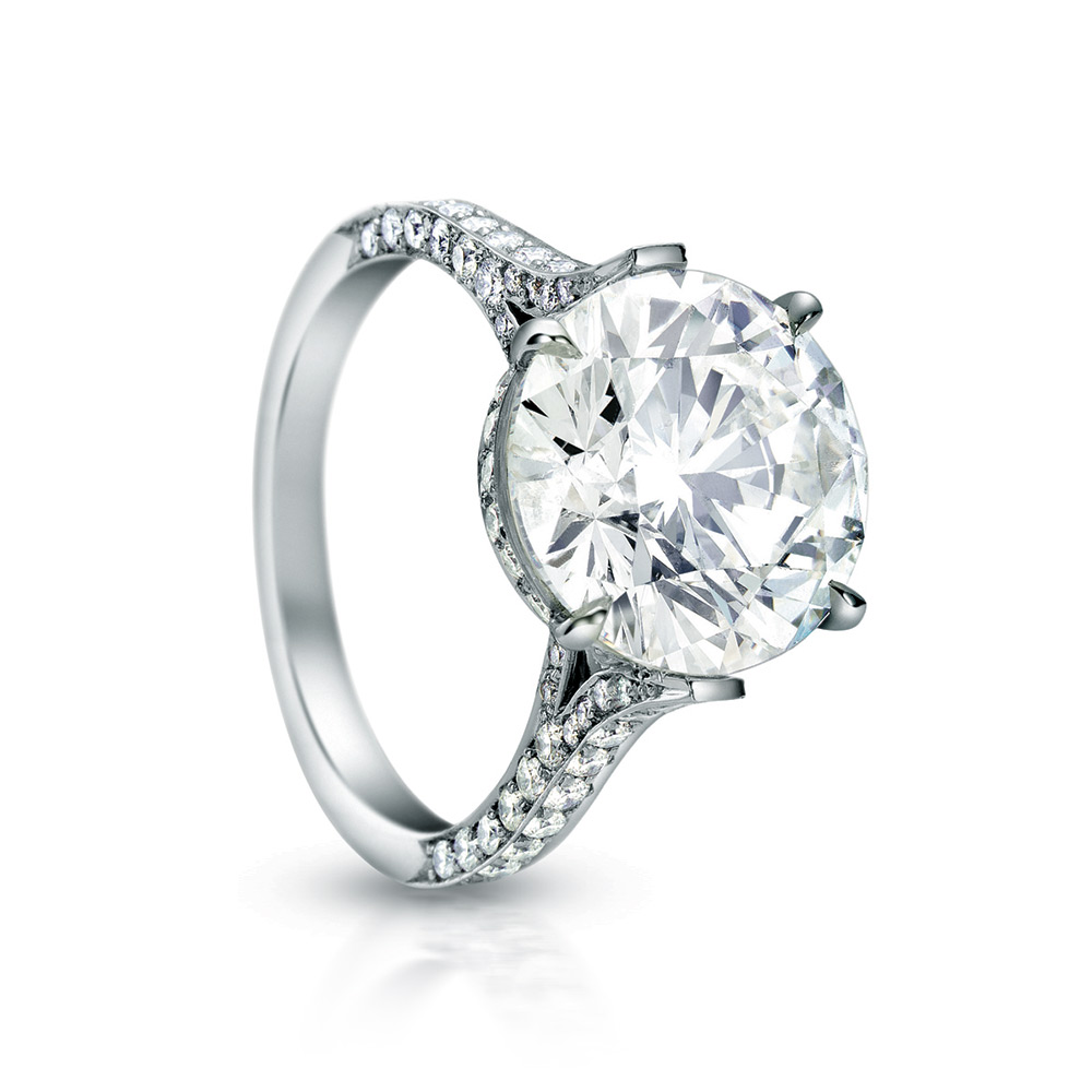 EMPRESS RING WITH ROUND CENTER DIAMOND AND MICRO-SET DIAMOND PAVE, CRAFTED IN PLATINUM, 4.25, CTW, TOP ANGLE VIEW