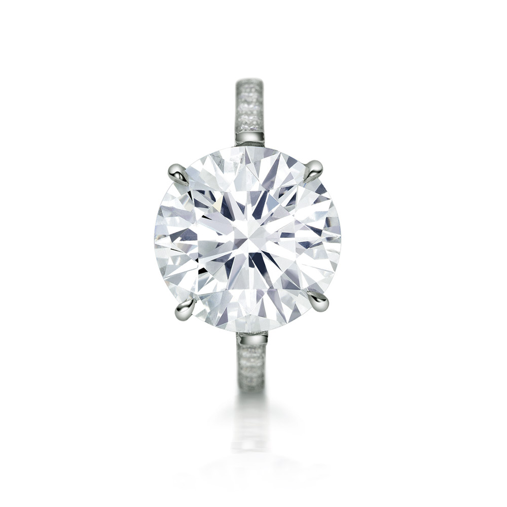EMPRESS RING WITH ROUND CENTER DIAMOND AND MICRO-SET DIAMOND PAVE, CRAFTED IN PLATINUM, 4.25 CTW, TOP VIEW