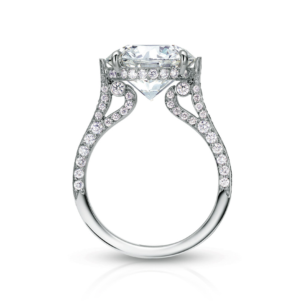EMPRESS RING WITH ROUND CENTER DIAMOND AND MICRO-SET DIAMOND PAVE, CRAFTED IN PLATINUM, 4.25 CTW, PROFILE VIEW