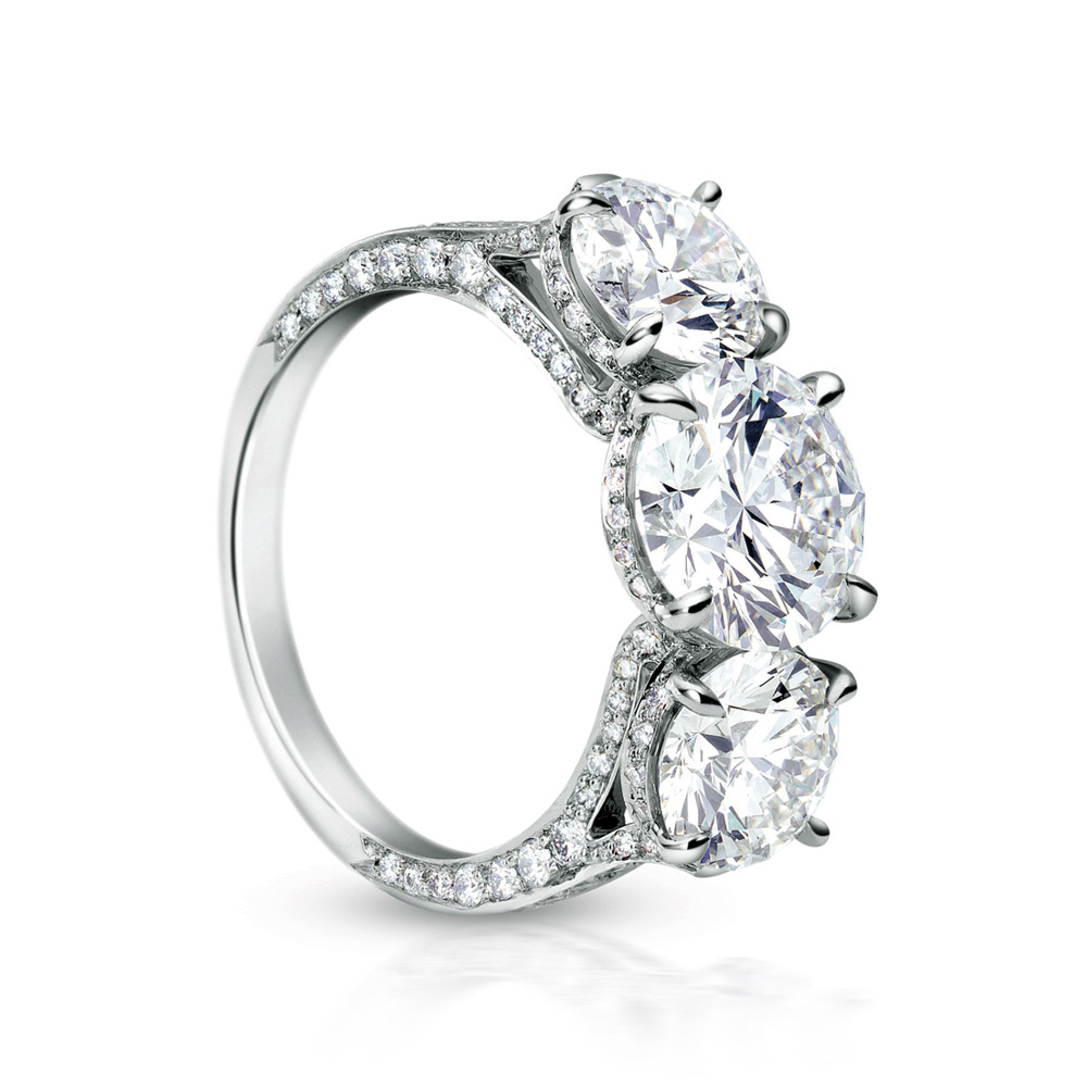 EMPRESS RING WITH 3 ROUND DIAMONDS AND MICRO-SET DIAMOND PAVE, CRAFTED IN PLATINUM, 5.07 CTW, TOP ANGLE VIEW