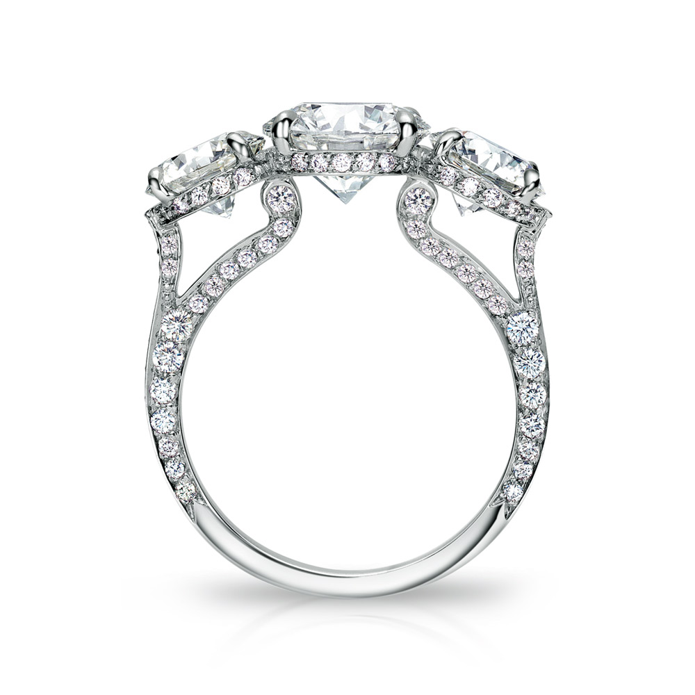 EMPRESS RING WITH 3 ROUND DIAMONDS AND MICRO-SET DIAMOND PAVE, CRAFTED IN PLATINUM, 5.07 CTW, PROFILE VIEW