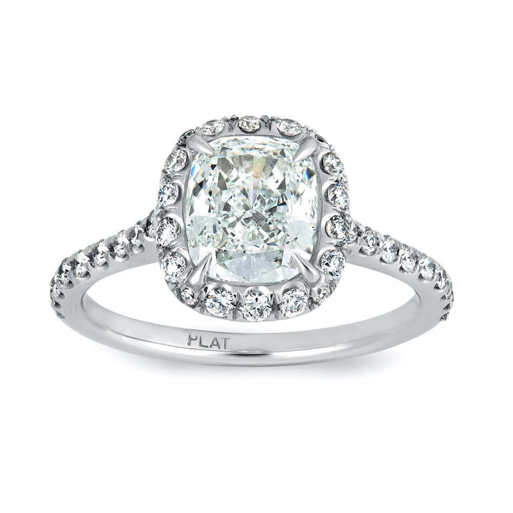 CUSHION CUT CENTER DIAMOND WITH MODERN CUT DOWN DIAMOND PAVE HALO, CRAFTED IN PLATINUM, 3.60 CTW