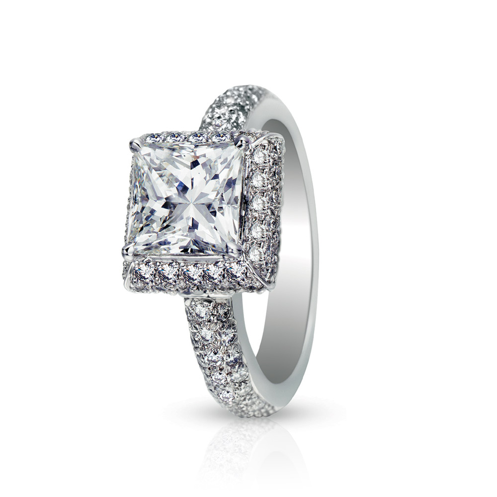 FRAZETTI RING WITH PRINCESS CUT CENTER DIAMOND AND MICRO-SET DIAMOND PAVE, CRAFTED IN PLATINUM, 2.33 CTW