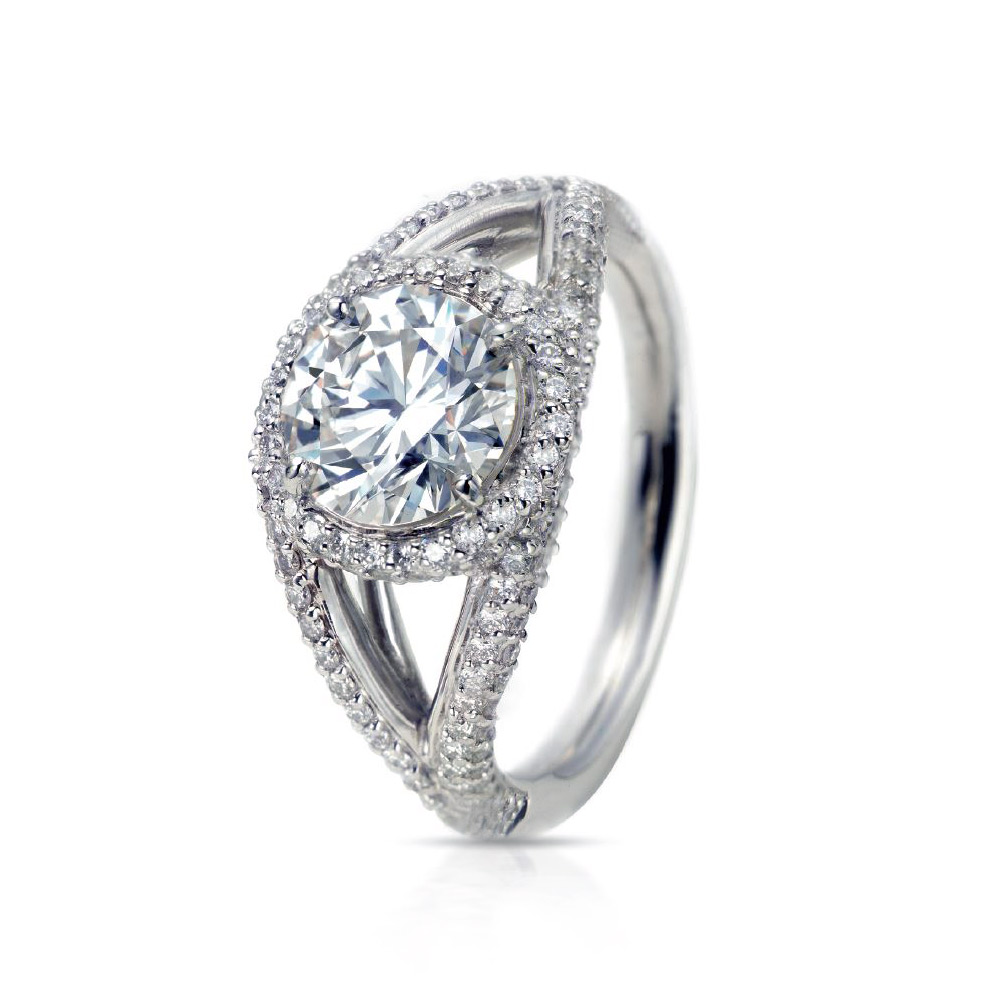 HRH RING WITH ROUND CENTER DIAMOND AND MICRO-SET DIAMOND PAVE, CRAFTED IN PLATINUM, 3.55 CTW