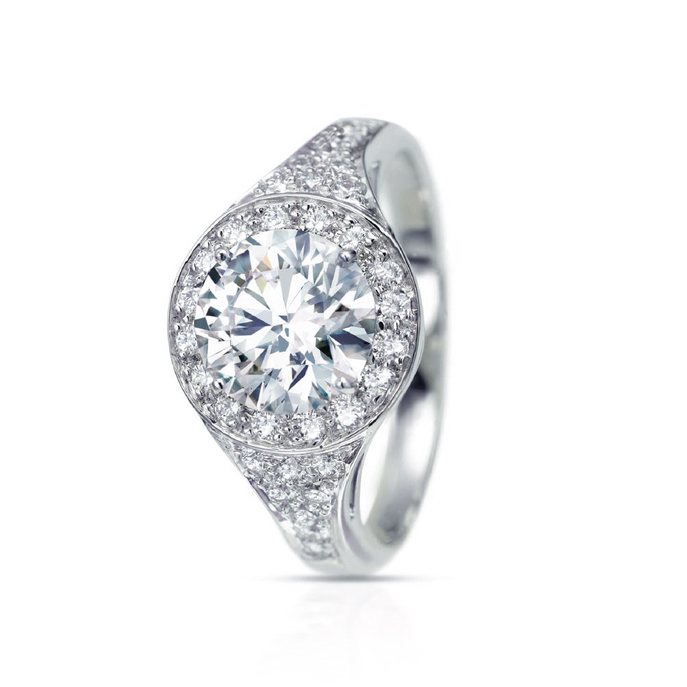 VICTORIA RING WITH ROUND CENTER DIAMOND AND MICRO-SET DIAMOND PAVE, CRAFTED IN PLATINUM, 4.65 CTW