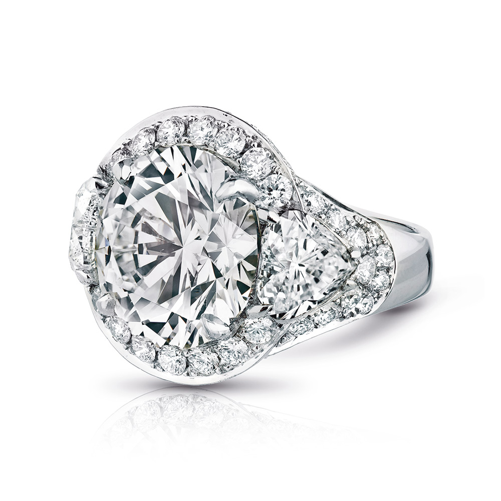 VICTORIA RING WITH ROUND CENTER DIAMOND, HEART SHAPED SIDES AND MICRO SET DIAMOND PAVE, CRAFTED IN PLATINUM, 6.49 CTW