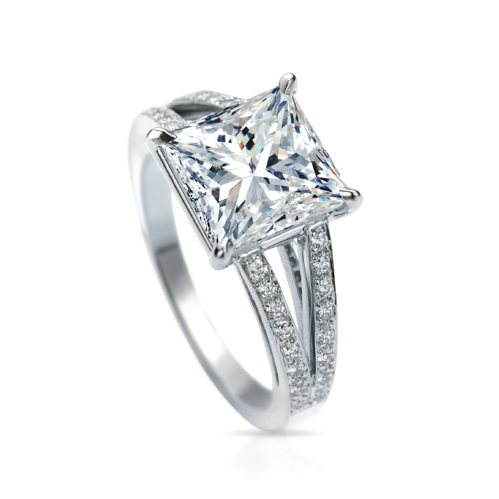 RAINIER RING WITH PRINCESS CUT CENTER DIAMOND AND MICRO-SET DIAMOND PAVE, CRAFTED IN PLATINUM, 4.24 CTW
