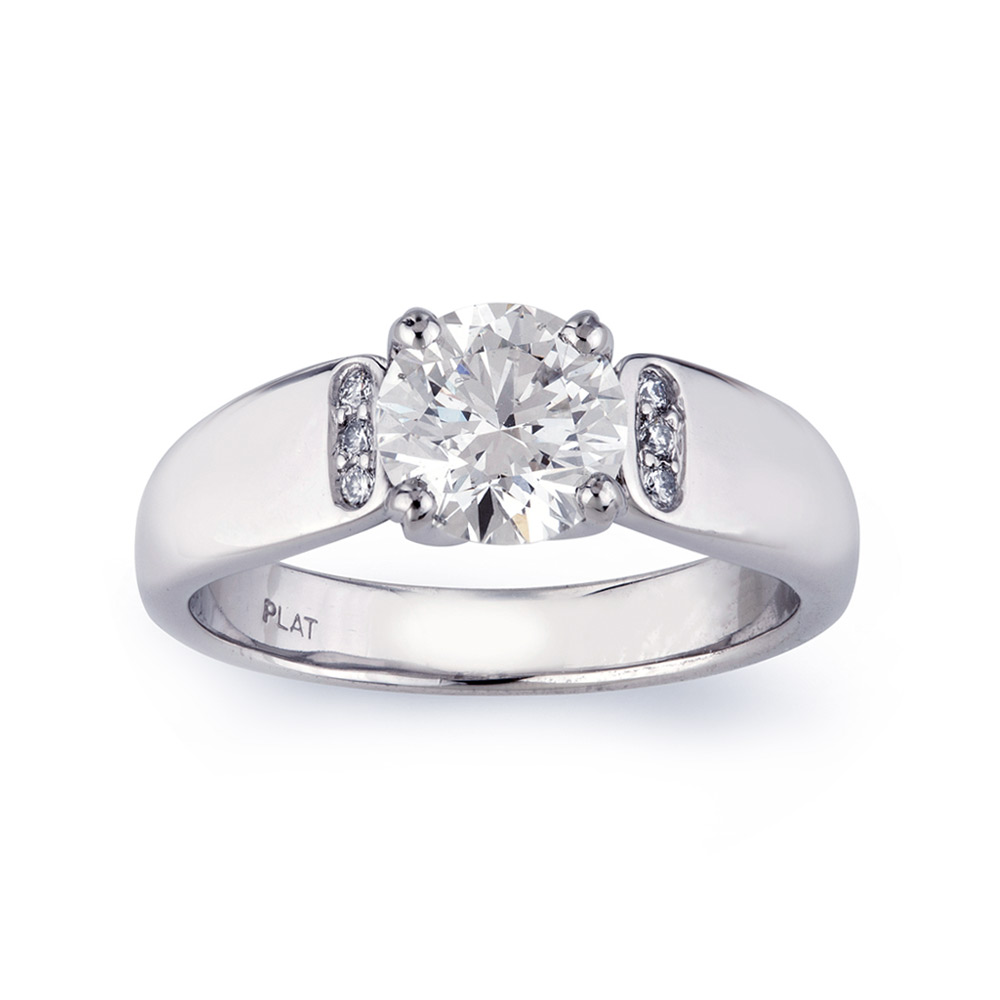 RHODES RING WITH ROUND DIAMOND CENTER STONE  WITH ROUND DIAMOND ACCENTS, CRAFTED IN PLATINUM,  1.62 CTW, TOP VIEW