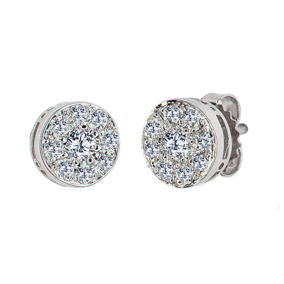 DIAMOND PAVE BUTTON EARRINGS CRAFTED IN 18K WHITE GOLD, .45 CTW