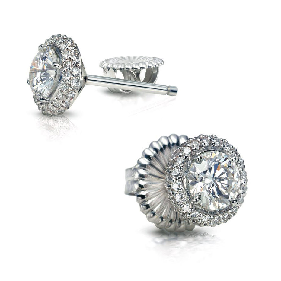 DONATA EARRINGS WITH ROUND DIAMOND CENTERS AND MICRO-SET PAVE CRAFTED IN PLATINUM, 1.42 CTW