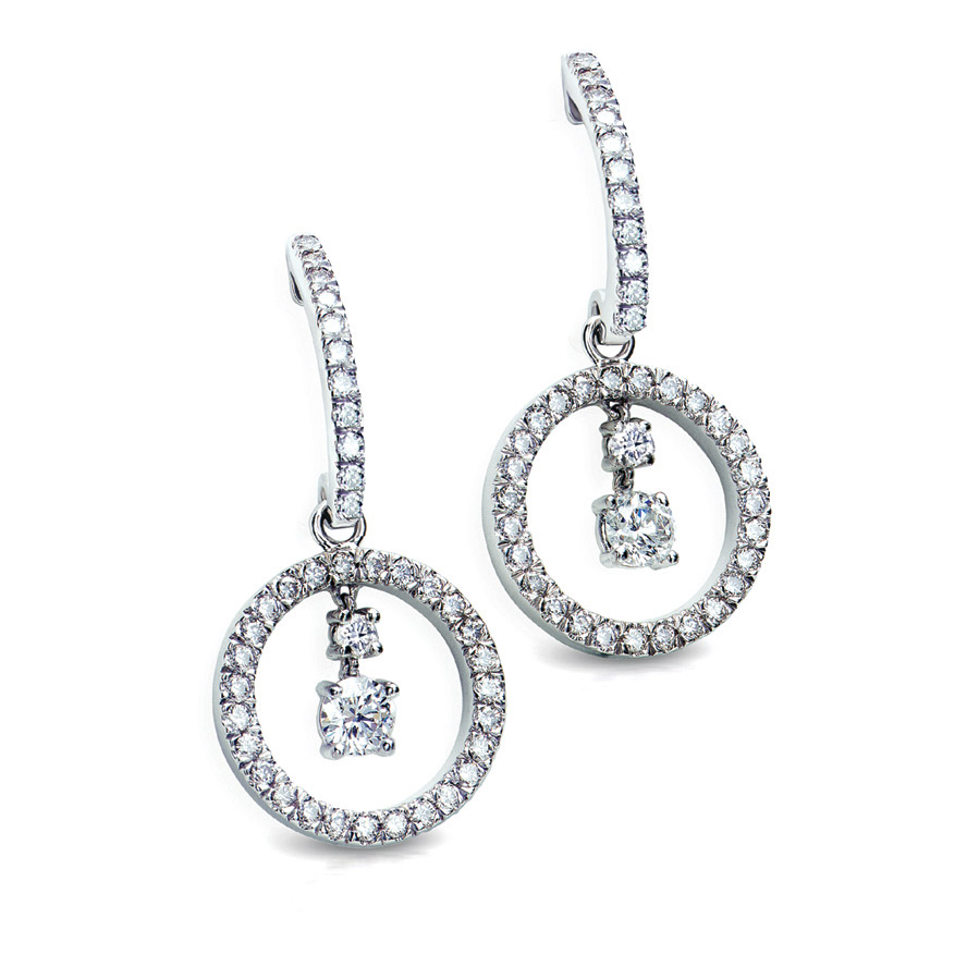 DE BELLIO EARRINGS WITH ROUND DIAMOND CENTER AND DIAMOND PAVE CRAFTED IN 18K WHITE GOLD, 1.28 CTW