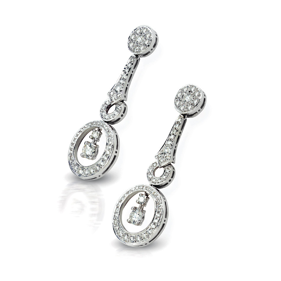 TOULOUSE EARRINGS WITH ROUND DIAMOND CENTER AND DIAMOND PAVE, CRAFTED IN 18K WHITE GOLD, 2.05 CTW