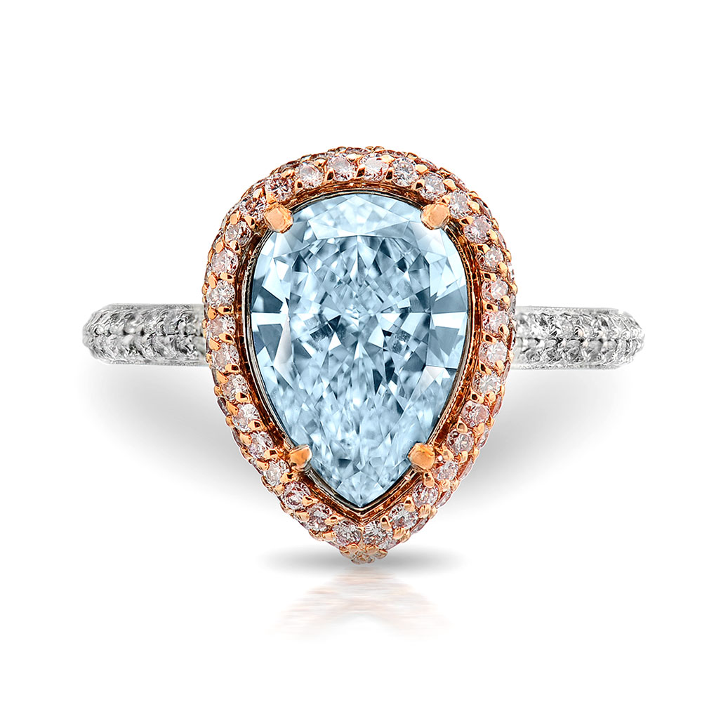 FANCY LIGHT BLUE PEAR SHAPE DIAMOND WITH COLORLESS AND PINK DIAMOND PAVE CRAFTED IN 18K ROSE GOLD AND PLATINUM, 31.11 CTW