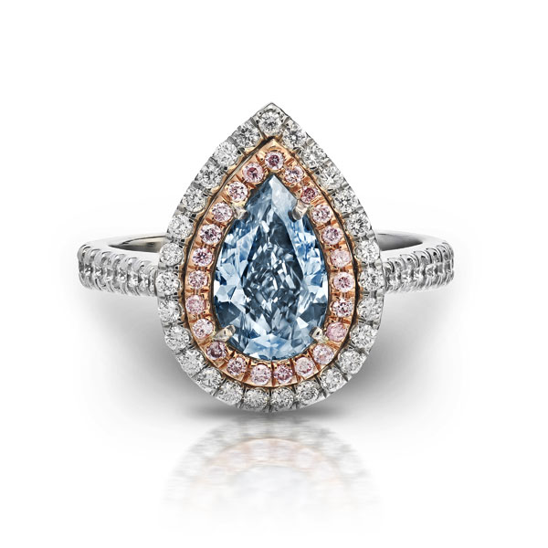 FANCY INTENSE BLUE PEAR SHAPE DIAMOND WITH COLORLESS AND PINK DIAMOND PAVE CRAFTED IN ROSE GOLD AND PLATINUM, 1.80 CTW