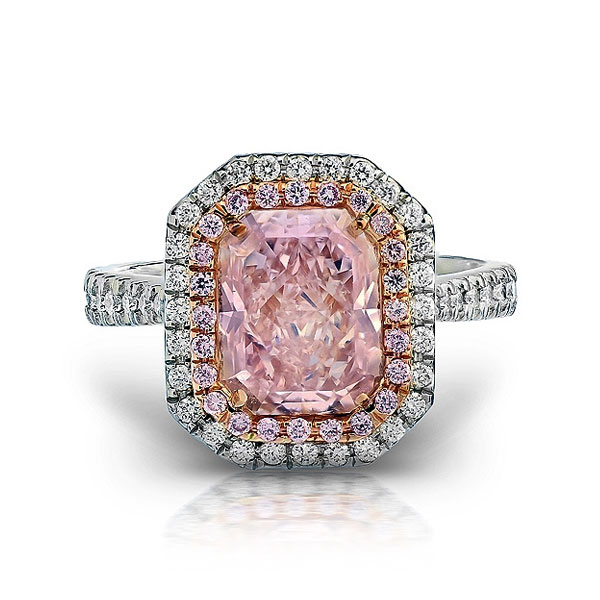 FANCY LIGHT PINK RADIANT CUT DIAMOND WITH COLORLESS AND PINK DIAMONDS, CRAFTED IN 18K ROSE GOLD AND PLATINUM, 3.53 CTW
