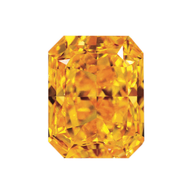 FANCY VIVID ORANGE - EMERALD CUT  LOOSE  DIAMOND