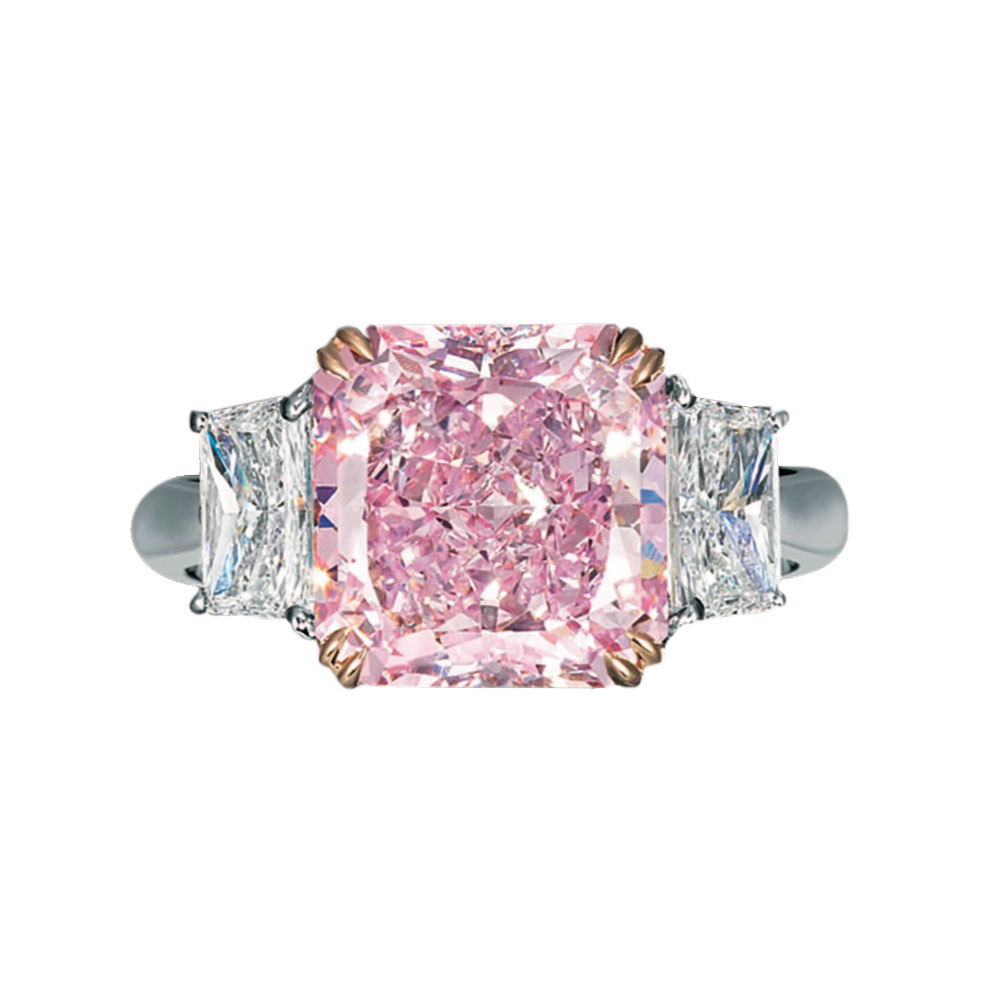 FANCY INTENSE PINK RADIANT CUT DIAMOND WITH COLORLESS TRAPEZOID CUTS CRAFTED IN 18K ROSE GOLD AND PLATINUM, 11.86 CTW