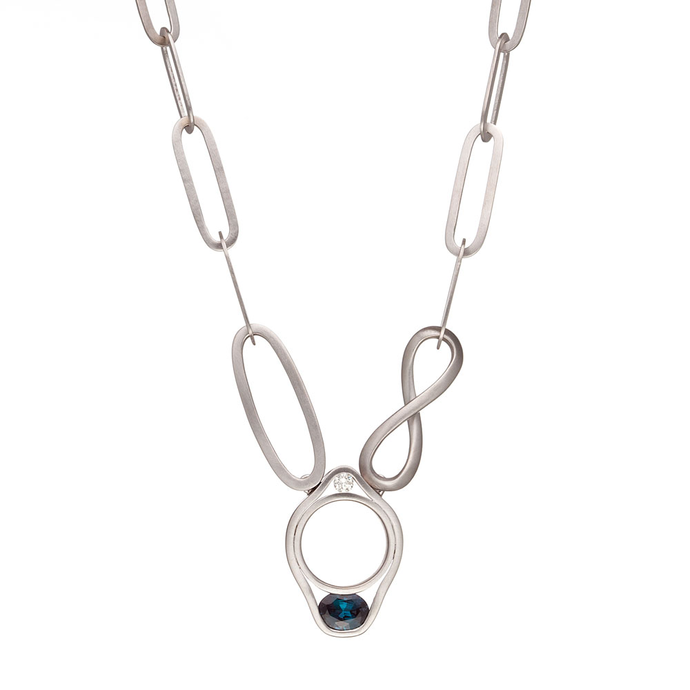 HARMONY NECKLACE FEATURING COLOR CHANGE ALEXANDRITE AND COLORLESS DIAMOND CRAFTED IN 18K WHITE GOLD WITH HAND BRUSHED FINISH