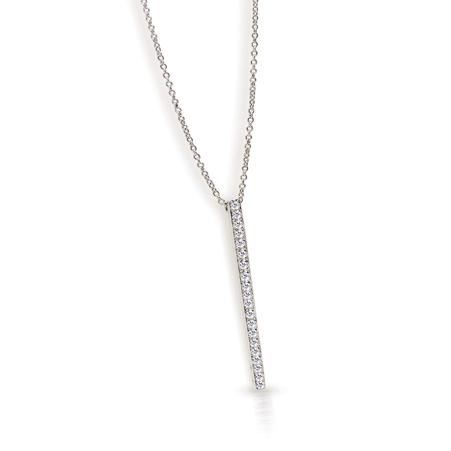 STICKS AND STONES PENDANT WITH DIAMOND PAVE CRAFTED IN 18K WHITE GOLD, .20 CTW