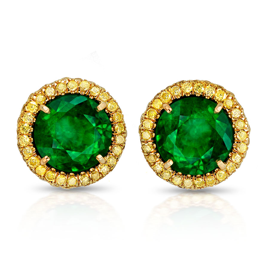 EMERALD ROUND CUTS WITH FANCY VIVID YELLOW DIAMONDS CRAFTED IN 18K YELLOW GOLD, 5.84 CTW