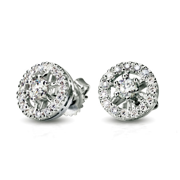 ROTHKO EARRINGS WITH ROUND DIAMOND CENTER AND DIAMOND PAVE, CRAFTED IN 18K WHITE GOLD, .75 CTW