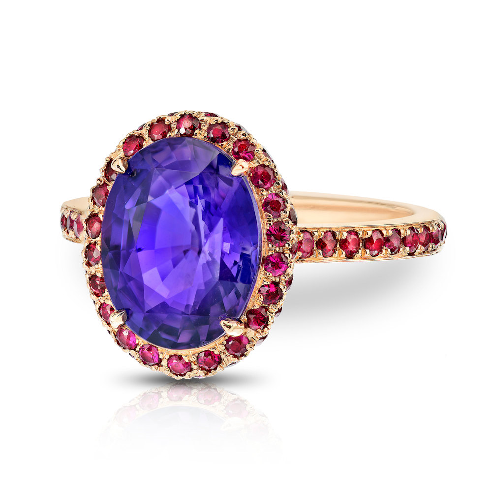 NATURAL PURPLE OVAL SHAPE SAPPHIRE WITH ROUND RUBIES CRAFTED IN 18K ROSE GOLD, 4.95 CTW